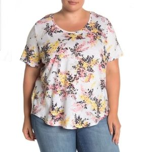 Joe Fresh Cotton Floral Scooped Neck Tee